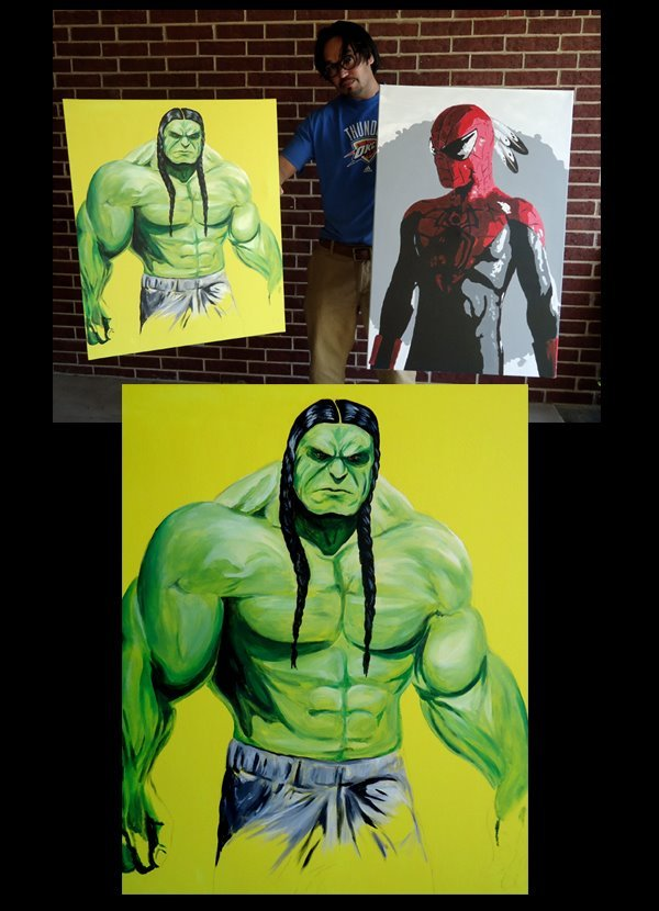 theillustratednerdgirl:  lastrealindians:  HULK 24x30 acrylic on canvas $400, SPIDERMAN 24x36 acrylic on canvas $300 OR both for $600. (plus shipping or local pick up in Oklahoma) During the day, hulk is a mild mannered NARF lawyer, but when treaties get broken, watch out. -Source: Steven Paul Judd  I have never needed anything as badly as I need these.