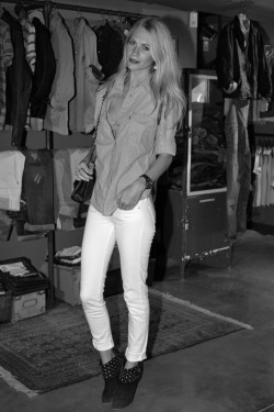 Poppy Delevingne at Levi's flagship Champs Elysees opening.