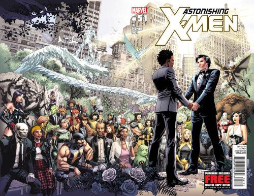 raptorinside:  Marvel Comics announced that it has an interracial gay wedding happening in the next issue of Astonishing X-Men - and it's been making mainstream national headlines. My favorite write-up so far has been 'Gay Men to Tarnish the Sanctity of Fictional Marriage' from Indecision Blog. Coincidentally, I was already planning to read Joss Whedon's run of Astonishing as soon as I'm done with The Black Mirror. All of this makes me happy.  Astonishing X-Men is amazing - you'll LOVE it!!!