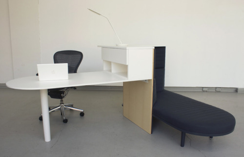 Integrated Workstation Designed by Matthew Plumstead Taking only the most essential components of a workstation and adding a third component- the daybed, this workstation provides maximum flexibility in a very modest footprint. Standing, sitting, and reclining are each given an equal and accommodating space, making a strong statement about new behaviors and postures in the office.  One of the prototypes dreamed up by Cranbrook design students in a project with Herman Miller called Rest and Relaxation In the Workplace.