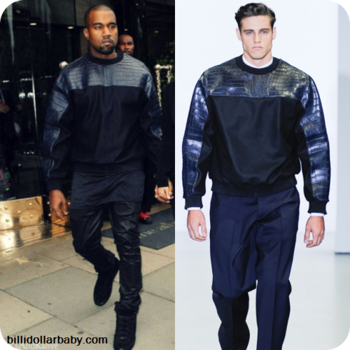 GET THE LOOK: Kanye West out and about in Cannes wearing an oversized Croc Crew Neck Calvin Klein sweater from the Fall/Winter 2012 collection along with his favorite pair of Wax Denims and Balenciaga Arena sneakers in Black