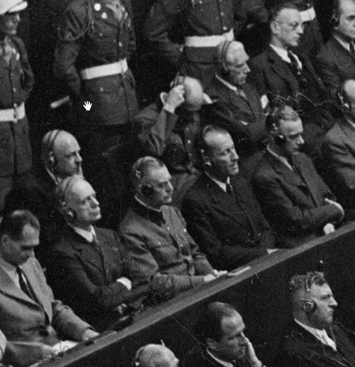 nurembergtrials:  Everyone in the front row seems to be sleeping, how funny, especially Hess, Ribbentrop, and Kaltenbrunner. But fear not, Jodl is always alert!
