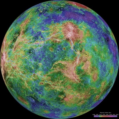 ESA's Venus Express has been used to study the geology in a region near Venus' equator. Using near-infrared observations collected by the Venus Monitoring Camera (VMC), scientists have found evidence that the planet's rugged highlands are scattered with geochemically more evolved rocks, rather than the basaltic rocks of the volcanic plains. This finding is in agreement with previous studies, which used data from the spacecraft's Visible and Infrared Thermal Imaging Spectrometer (VIRTIS) to map the planet's surface in the southern hemisphere. Investigations into the nature of Venus' surface are complicated by the fact that the surface is concealed behind a dense covering of clouds. Since the 1980s, radar instruments on board orbiting spacecraft have been used to peer through these clouds to gain insight into the texture of the surface. However, in order to understand how Venus has evolved, geologists want to 'dig a bit deeper' and study the composition of its rocks – information that radar imaging can't provide.   They're eager to learn if geological features revealed in radar images, such as steep-sided domes and rugged highland terrain (called tesserae), contain materials that are rich in silicates, such as 'felsic rocks'. On Earth, most felsic rocks – the most common of which is granite – formed in a water environment. This makes them particularly interesting with regards to planetary evolution.   Chimon-mana Tessera and areas studied with VMC. Credit: A.T. Basilevsky et al. 2012 Since Venus Express began its observations, scientists are now starting to unearth the planet's geology. The near-infrared channels of the VMC and VIRTIS instruments have measured the intensity of 1 micron-wavelength radiation, which is dependent upon the surface temperature and emissivity of the rocks. It's the latter that is important here, as it depends on several factors, including the surface texture and mineral composition. In a new study, the first findings about the geology of Venus based on VMC data have been published. The study, which was led by Alexander Basilevsky from the Vernadsky Institute of Geochemistry and Analytical Chemistry in Moscow, Russia, analysed the rugged highland terrain called Chimon-mana Tessera and its surrounding volcanic plains. This region was chosen for the VMC study because its equatorial position prevented solar light from skewing the data; by observing the night-side of Venus and keeping within low latitudes (40 degrees above and below the equator), the planet eclipsed the Sun from the spacecraft. Read more >