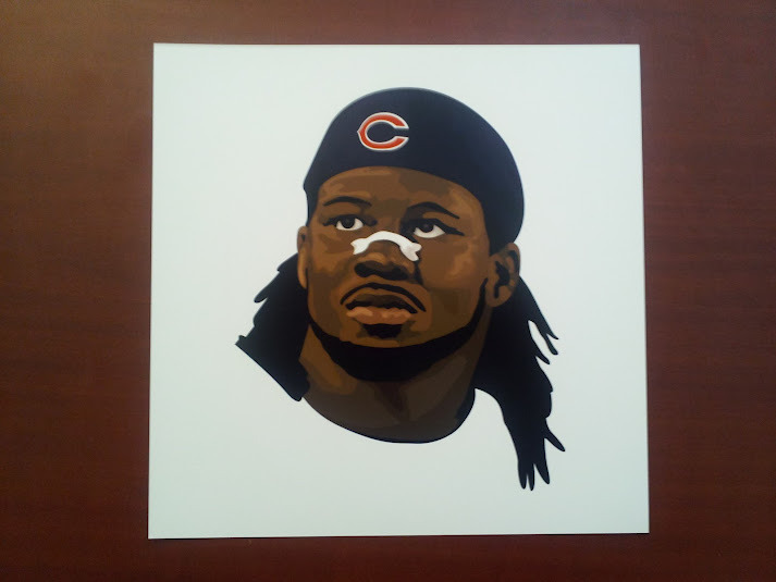 "Attention Bears' fans: win a 10x10"" print of my Devin Hester illustration. Simply re-tweet this. Must be following my twitter account to be eligible. Winner will be announced on or about Tuesday, May 29th."