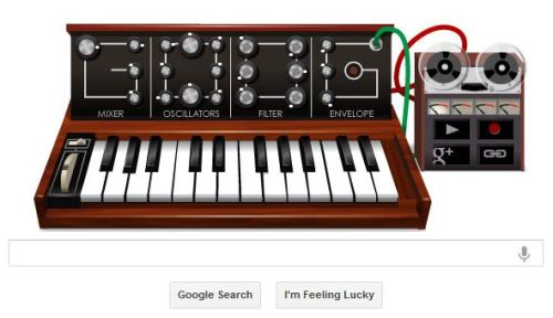 austin360:  Today's distraction: Google's Doodle featuring a playable Moog As if the Internet doesn't provide enough distractions already (we're looking at you, LOLCats), Google is featuring a doodle celebrating Robert Moog's 78th birthday. His Moog synthesizer changed the way we hear music and brought electronic music to the masses, as Charles Carlini, a New York concert promoter, told the Associated Press. So of course we had to make a song (not a very good one). We have a feeling you could do better. Send us a link to yours. Not sure how to use the Doodle? Check out this video tutorial courtesy of the Goog.