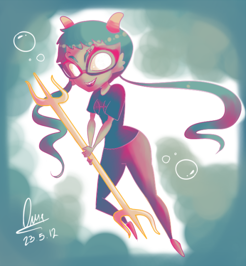 Meenah is swimming. Bitches love swimming. A pseudo quick Meenah chibi, Paint Tool SAI and this palette. I hope someone likes it dijsfisdf.