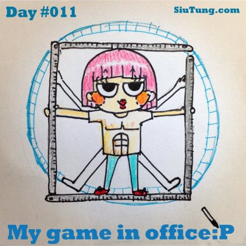 【Day 11】Working is like a hamster running on the wheel I want to use my steel rulers and foam board to make the props and I can act like Leonardo Da Vinci in the office. Please support my illustration at Siutung.com