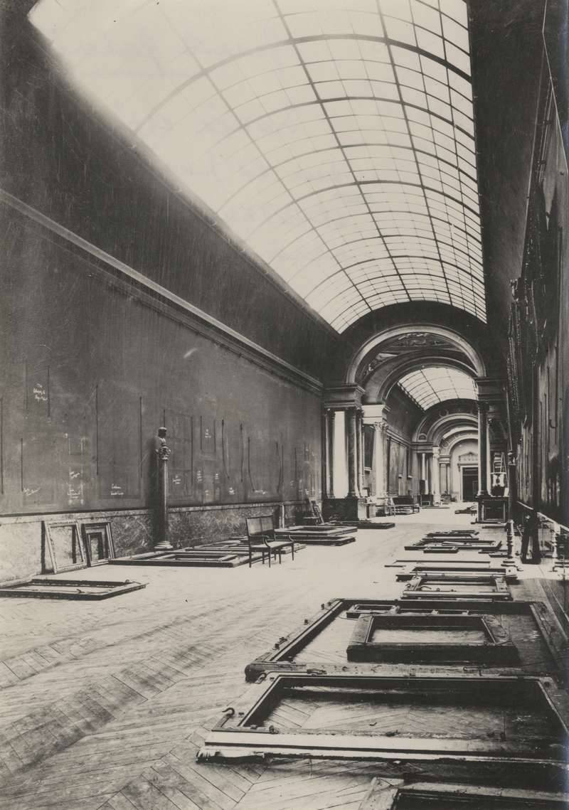 The Louvre's Grande Galerie abandoned. Paris, World War II.