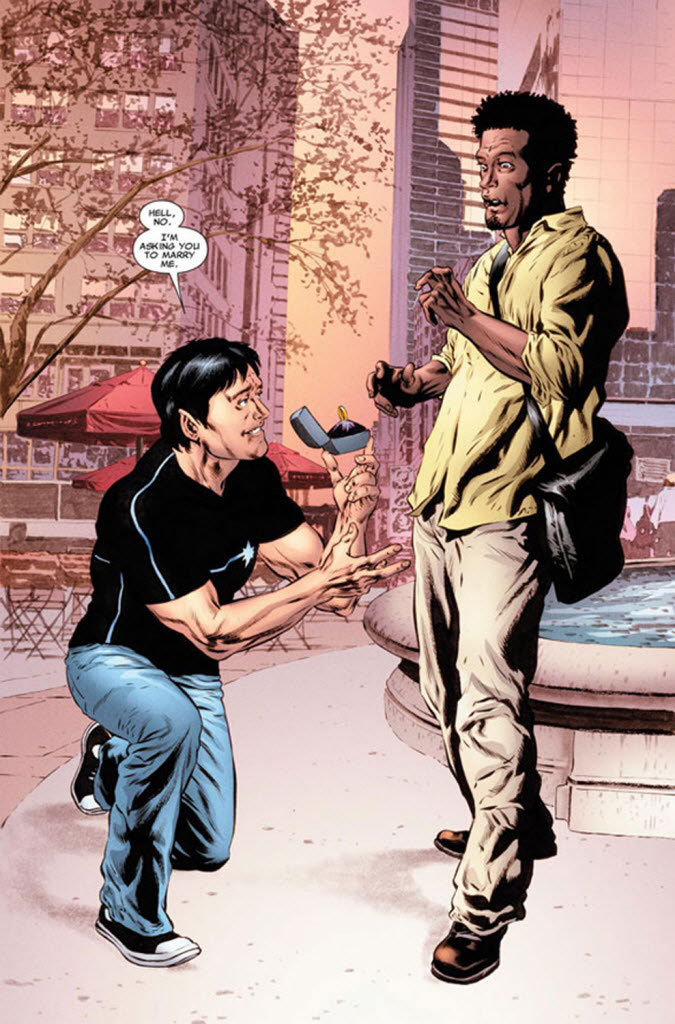 nparts:  Northstar, Marvel's first openly gay character, to marry beau in upcoming comic Wedding bells will ring this summer for Marvel Comics' first openly gay hero, super speedster Northstar. The New York-based publisher said Tuesday that Canadian character Jean-Paul Beaubier will marry his beau, Kyle Jinadu, in the pages of Astonishing X-Men No. 51, due out June 20.