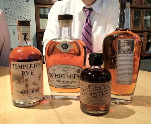 Last night's Tuesday tasting brought four rye whiskies to the table—Templeton Rye (80 proof), Masterson's 10-Year-Old Straight Rye (90 proof), Hudson Manhattan Rye <4-Year-Old (92 proof), and Whistlepig 10-Year-Old Straight Rye (100 proof). A few weeks ago, we tasted another collection of rye whiskies and the group last night was equally diverse. We always begin our tastings with the lower proof and work our way up to the stronger stuff. The difference between an 80 and a 100 proof drink can be significant, especially when you're taking a big whiff.  We do a nose without water, write notes, then add some cool delicious NYC tap, nose again, write notes, and then finally get a taste. The two older bottles last eve were big favorites and full of the qualities you want in a rye whiskey. In the case of Whistlepig, 100% percent rye, a first for many of us. Tons of orange blossom, orchid, very slight woodiness. Delicious stuff. Pitchaya, one of our regular tasters, makes his own bitters and we plan to do a rye cocktail evening soon. The virtues of this or that rye as a cocktail mixer were pondered a good while. A few of the whiskies are so good (and not cheap), it's hard to imagine adding anything but a bit of cold water and maybe a nice chunk of fresh ice. But rye is the base of so many classic cocktails, it will be fun to see how they hold up.