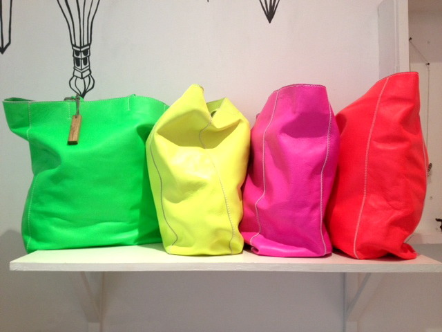 Neon leather tote bags x Monserat de Lucca. In-store