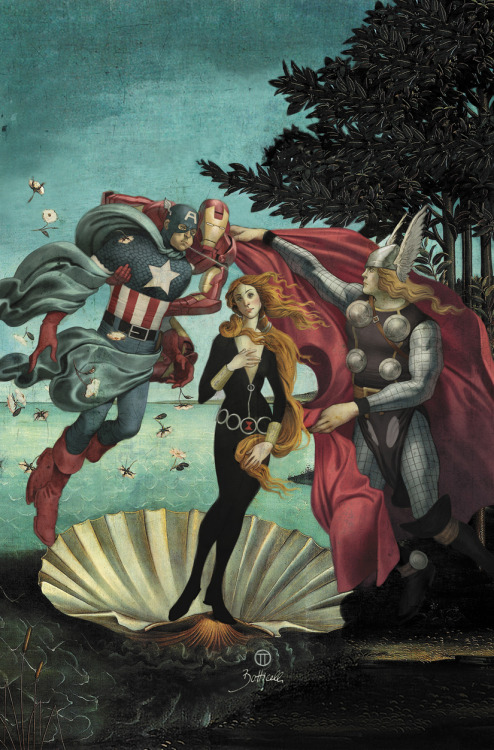 "Avengers Art Appreciation inspired in Boticelli's ""The Birth of Venus"" by Julian Totino Tedesco"