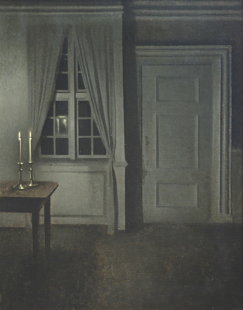 Interior with two candles, 1904. Oil on canvas by Vilhelm Hammershøi