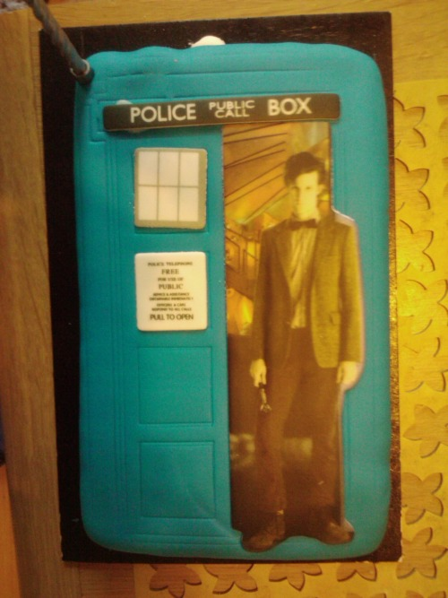 Look at my baby on the cake. He's saying 'Look at me and my TARDIS aren't we sexy?'