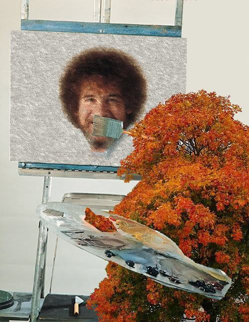 forevermisspelled:  A happy little Bob Ross!