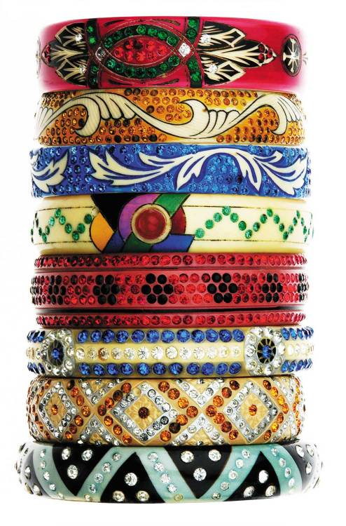 Bangles from the book Vintage Costume Jewellery: A Passion for Fabulous Fakes by Carole Tanenbaum.  Read the article 'Fabulous fakes' on Petits Luxes N.3