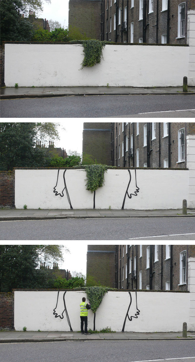 Bush, A Suggestive Topiary Street Art Installation by Banksy