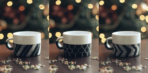 A different mug every day with just a bit of chalk, a really cute idea from wit & whistle.