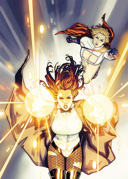 comicqueens:  Zatanna and Power Girl by Sami BasriCover of Power Girl v2 #23 (April 2011)