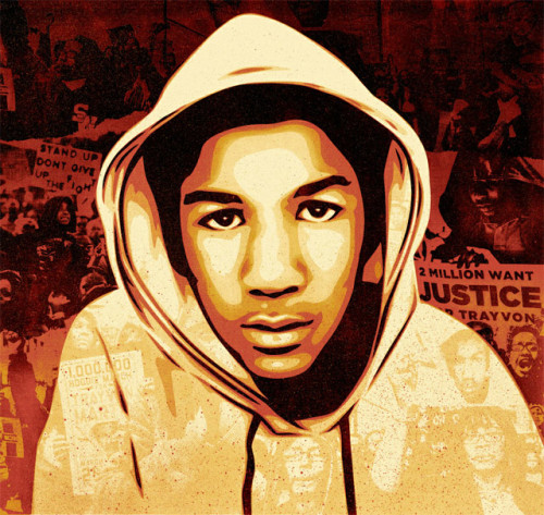 new shepard fairey piece I have followed Trayvon's case closely and I think any compassionate human being can relate to Trayvon as a brother or son and would want to see a thorough investigation into the killing of an unarmed person.  In my portrait I wanted to emphasize Trayvon's humanity as well as the public outcry for a just investigation into his death.  -Shepard