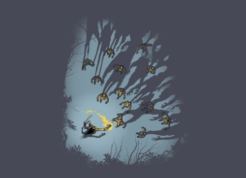 I recently bought the awesome Zombie Shadows shirt from threadless and was really pleased with it. Until I noticed one fatal flaw and now I can't unsee it…  … wait for it…  … you'll see it too…  …  …  Yes, that's right. How can the torch, which is the only source of light, cast a shadow?!?