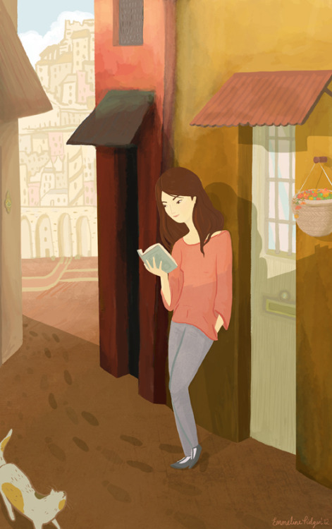 booksandstories:  Beautiful reading themed illustration by Emmeline from  www.emmelineillustration.com