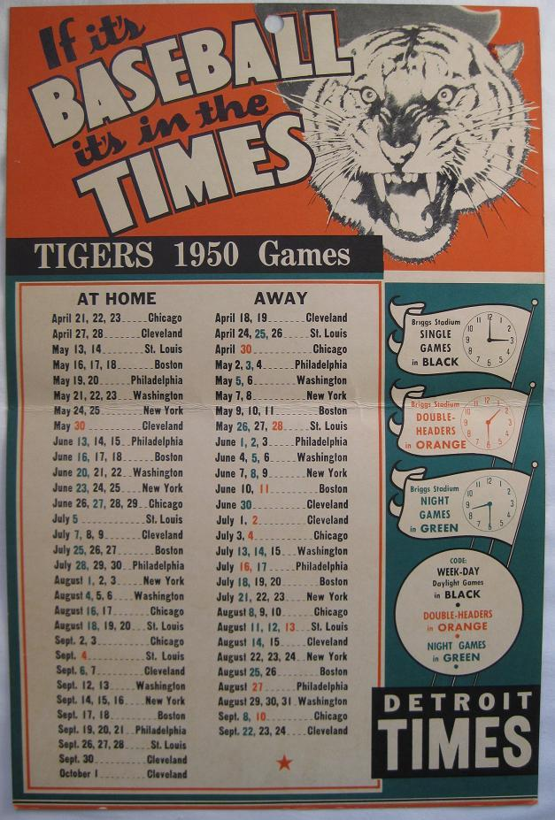 Tigers games, 1950. Source: http://curiousbookshop.blogspot.com/2012/04/go-tigers-classic-detroit-tigers-sports.html