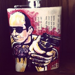 Got my flask from the seriously talented @artbyjeffbertrand today. Dr. Thompson #huntersthompson #art #nashville #jeffbertrand #flask (Taken with instagram)