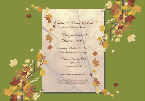 CLIENT: Orchard Friends School Develop tri-fold invitation, RSVP card and envelope.