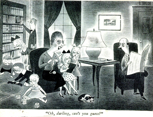 From the New Yorker archives - a 1938 cartoon by the wonderful (and little-remembered) cartoonist R. Taylor, who worked at the magazine from 1935 to 1967