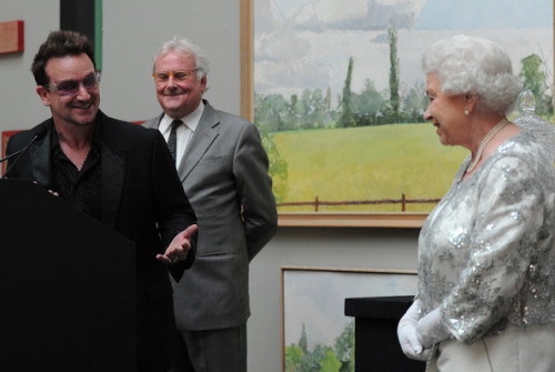 leahu2:  HRH Queen Elizabeth II listens as Bono makes a citation at a special 'Celebration of the Arts' event at the Royal Academy of Arts on May 23, 2012 in London, England.