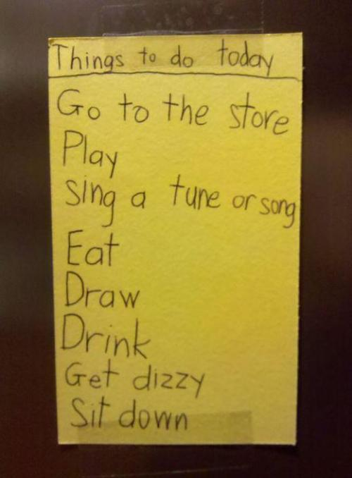 """Get dizzy."" Kid's To-Do List: Adorable Tasks A Child Has To Complete In A Day"