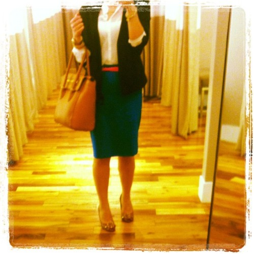 In need of color when sitting in dark meeting room all day #OOTD #OfficeChic #FashionDiaries #WhatIWore #Fashion #DvF #pencil #skirt #neon #belt #ToryBurch #wedge #JCrew #tote (Taken with instagram)