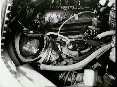 spacewatching:  Closeup of Astronaut M. Scott Carpenter inside his Aurora 7 spacecraft before the launch of the Mercury-Atlas 7 mission. [This happened 50 years ago today - ed]