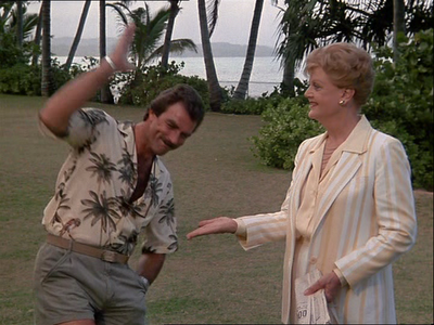bbc03indisguise:  Jessica Fletcher meets Magnum, P.I. It's like everything awesome about the 1980s rolled into one photo.  JB meets the PI