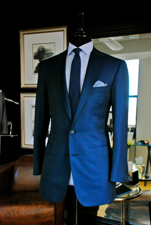 Air Force Blue 2 Button Notch Suit, Super 130s/ Wool by Ariston  . Royal Pencil Stripe Shirt. Navy Tie. Royal blue Plaid Herringbone Pocket Square, Hand Rolled In Japan.  Hand Made by Manolo Costa, New York