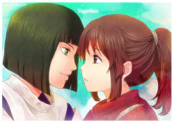 http://eternal-s.deviantart.com/art/Spirited-Away-Together-300855826 My first OTP.