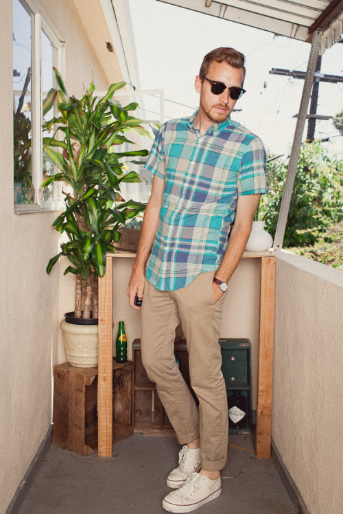 May 23, 2012. Shirt: J. Crew Factory - $24Pants: J. Crew - Stanton Pant in 484 fit - $75Shoes: PF Flyer Bob Cousy - $55 - ZapposSunglasses - Ray Ban Clubmaster - EZContactsUSA.com - $89Watch: Timex (Target) - $29  View on: Lookbook.nu | Chictopia