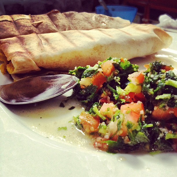 ohmydamnitssaja:  Tabouleh & Shawerma ❤ (Taken with instagram)  Good think about France, lots of this food.. Who i'm kidding shawarma is slowly but surely taking over the world