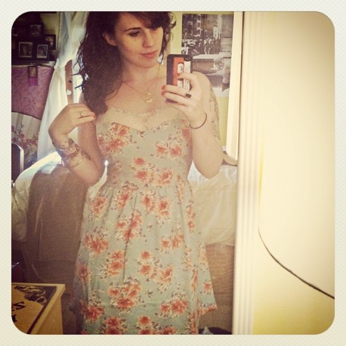 got a new summer time dress. feel a lil zooey deschanel in this (Taken with instagram)