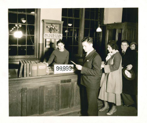 Registering Fordham Library's 99,999th Adult Borrower (1938).