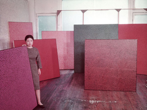 "Yayoi Kusama in her New York studio in 1960. Yayoi Kusama, a major retrospective of the Japanese artist's work, will be on view at the Whitney July 12-September 30, 2012. Kusama's ""infinity mirror room"" Fireflies on the Water is on view now in the Whitney's lobby gallery. Photograph via W Magazine, courtesy Ota Fine Arts, Tokyo/Victoria Miro Gallery, London/Gagosian Gallery, New York/Yayoi Kusama Studio Inc."