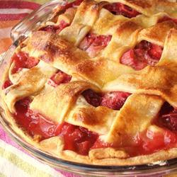 "Nothing says, ""Summer is HERE!!!!"" like rhubarb and strawberry pie complete with a lattice top, just like grandma use to make. Yum!"