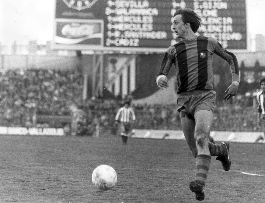 Johan Cruyff, in action for Barcelona at the Estadio Vicente Calderon v Atletico Madrid, October 24, 1976.Source: El Pais
