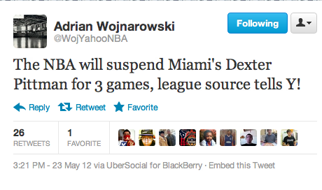nbaoffseason:  Adrian Wojnarowski is reporting that Dexter Pittman of the Miami Heat will receive a three game suspension for his late game flagrant foul on Lance Stephenson.  Granted Pittman doesn't play major minutes for Heat so in the long run this suspension doesn't actually affect the team, but Pittman should've received more than three games. This should've been a seven game suspension, to say the least.  It doesn't seem likely that either Tyler Hansbrough or Udonis Haslem will receive any suspension, if they only gave Pittman three games.  UPDATE (3:41pm, PST): Woj is now reporting that Haslem will serve a one game suspension and miss Game 6 against the Indiana Pacers.