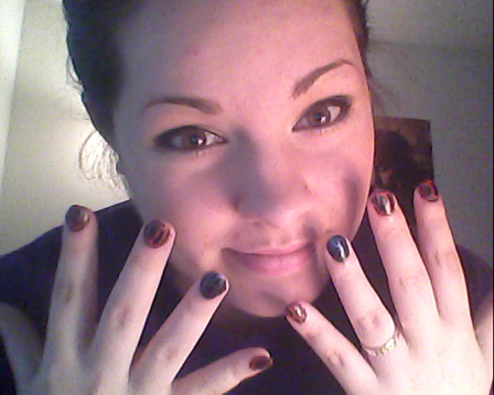 Painted Spiderman nails. I don't think you realize how happy this makes me. (Ignore my hair, the weather is taking its toll on it. Pft!)