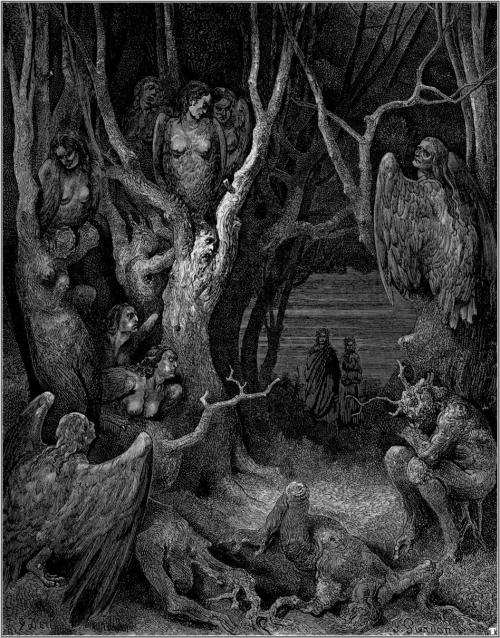 metalonmetalblog:  Harpies in the Forest of Suicides. Engraving by Gustave Doré illustrating Canto XIII of Divine Comedy, Inferno, by Dante Alighieri.