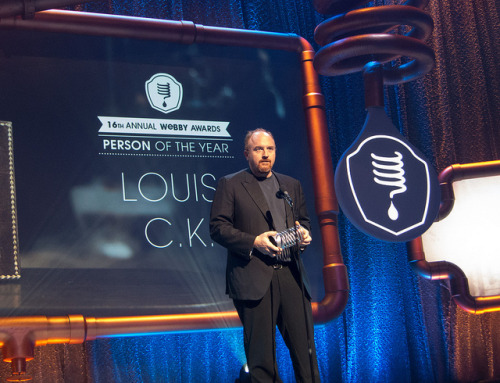 Louis CK winning 'Person of the Year' at the Webby Awards.