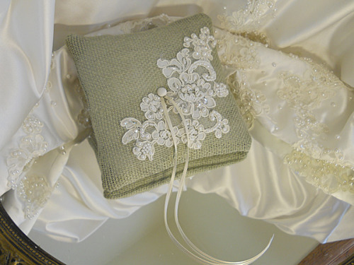 Burlap Ring Bearer Wedding Pillow, handmade of sage burlap and wedding lace and pearls