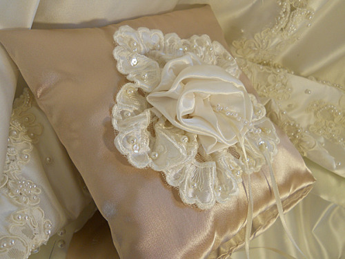 Satin Ring Bearer Wedding Pillow handmade of champagne satin and embellished with ivory satin and lace